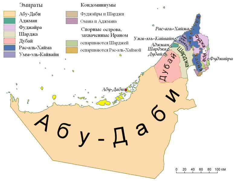 Карта Арабских Эмират