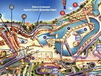 План карта: <br>1. White Water Wadi - этот водный спуск соединен с 11 горками<br>2. Flood River Flyer - этот спуск соединен с 6 горками<br>3. Jumeirah Sceirah - скоростной спуск <br>4. Summit Surge & Rushodown Ravine - аттракцион для всей семьи<br>5. Wipeout Flowrider - серфинговый бассейн<br>6. Wipeout Flowrider - серфинговый бассейн<br>7. Flood River - подходит для детей ростом ниже 1.1м<br>8. Juha`s Journey - ленивая река<br>9. Breaker`s Bay - бассейн с искуственными волнами <br> 10. Juha`s Dhow & Lagon -  игровая зона для всей семьи<br>11. Аттракцион Fossil Rock & Wadi Wash